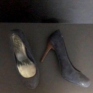 Navy suede pumps, stacked brown heel